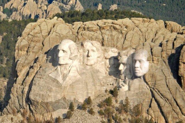 Канье Уэст прифотошопил себя на гору Рашмор к другим президентам США. Так — победит!