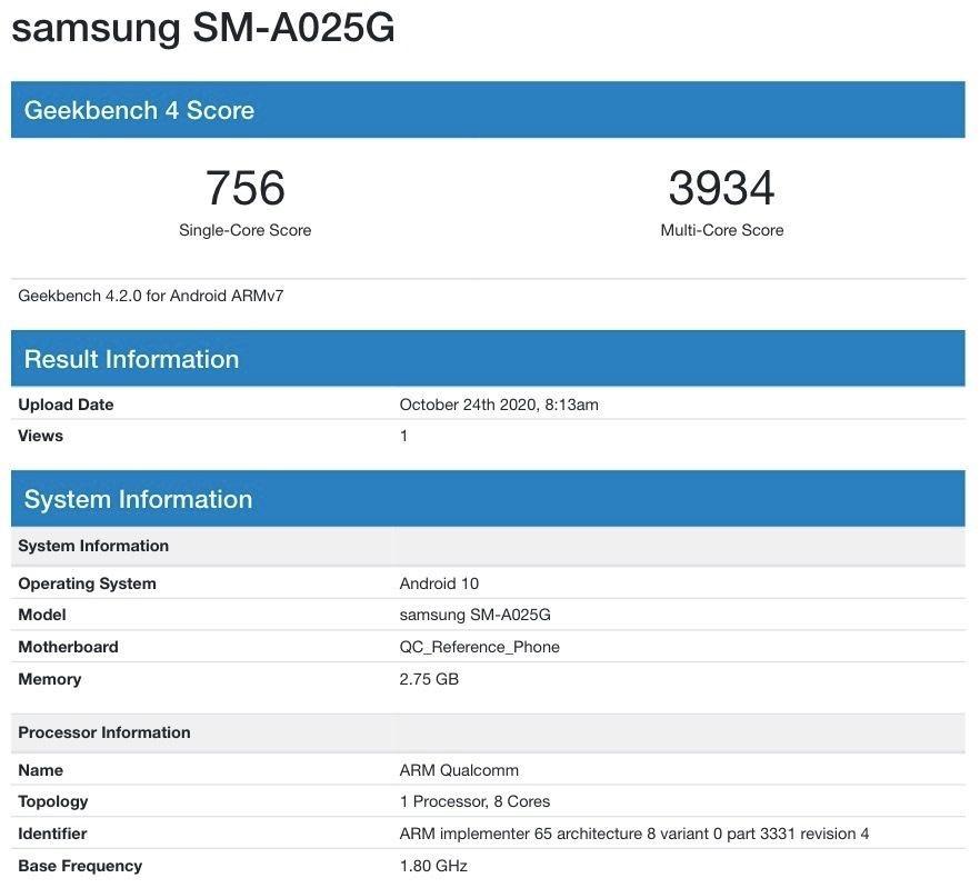 Раскрыты некоторые характеристики смартфона Samsung Galaxy A02s