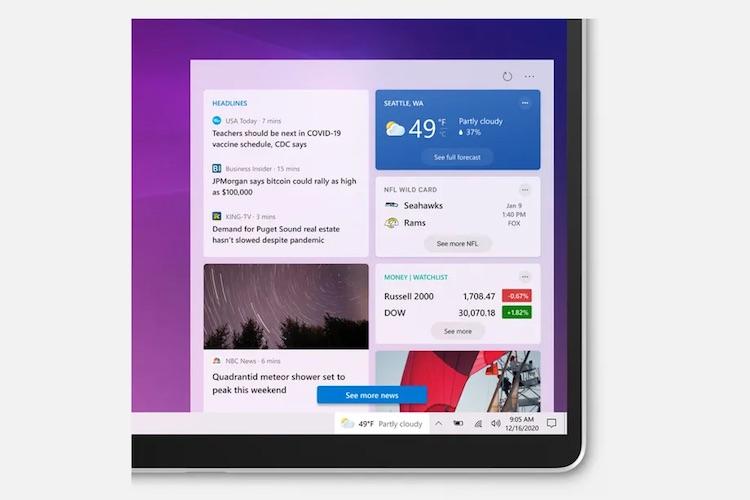 Microsoft сегодня начнёт распространять виджет новостей и погоды для панели задач Windows 10