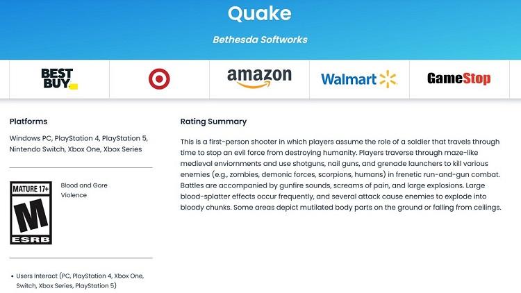 Неанонсированная версия Quake для ПК и современных консолей засветилась на сайтах рейтинговых агентств