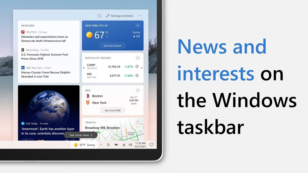 Началось публичное распространение виджета «Новости и интересы» для Windows 10