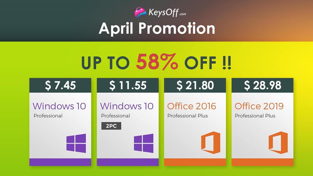 Апрельская распродажа Keysoff: огромные скидки и Windows 10 Pro за $7,45