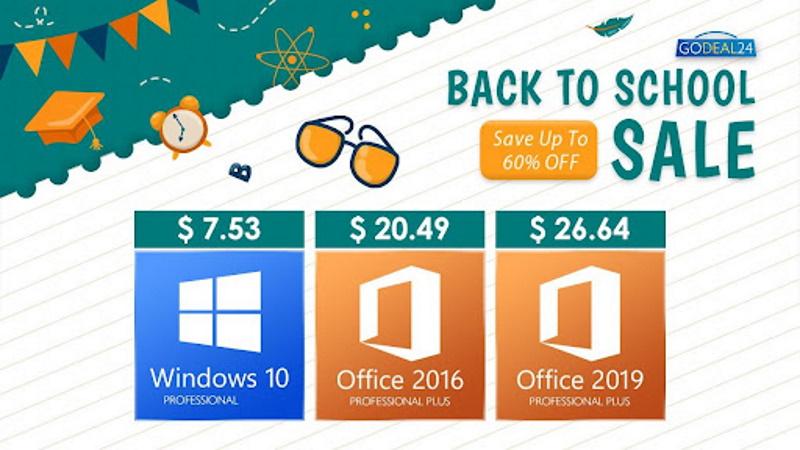 Распродажа «Обратно в школу» от Godeal24: Office от $20 и Windows 10 от $7,5