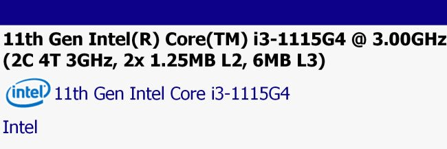 В базе данных SiSoftware замечен процессор Intel Core i3-1115G4 (Tiger Lake)