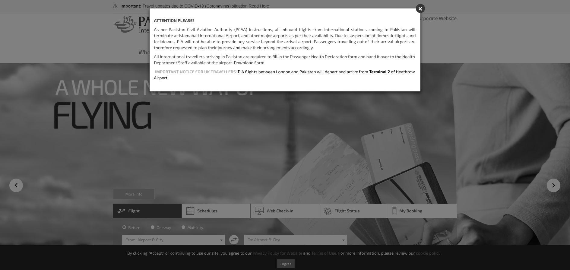Сайт авиакомпании Пакистана окрасился в черно-белые цвета после авиакатастрофы