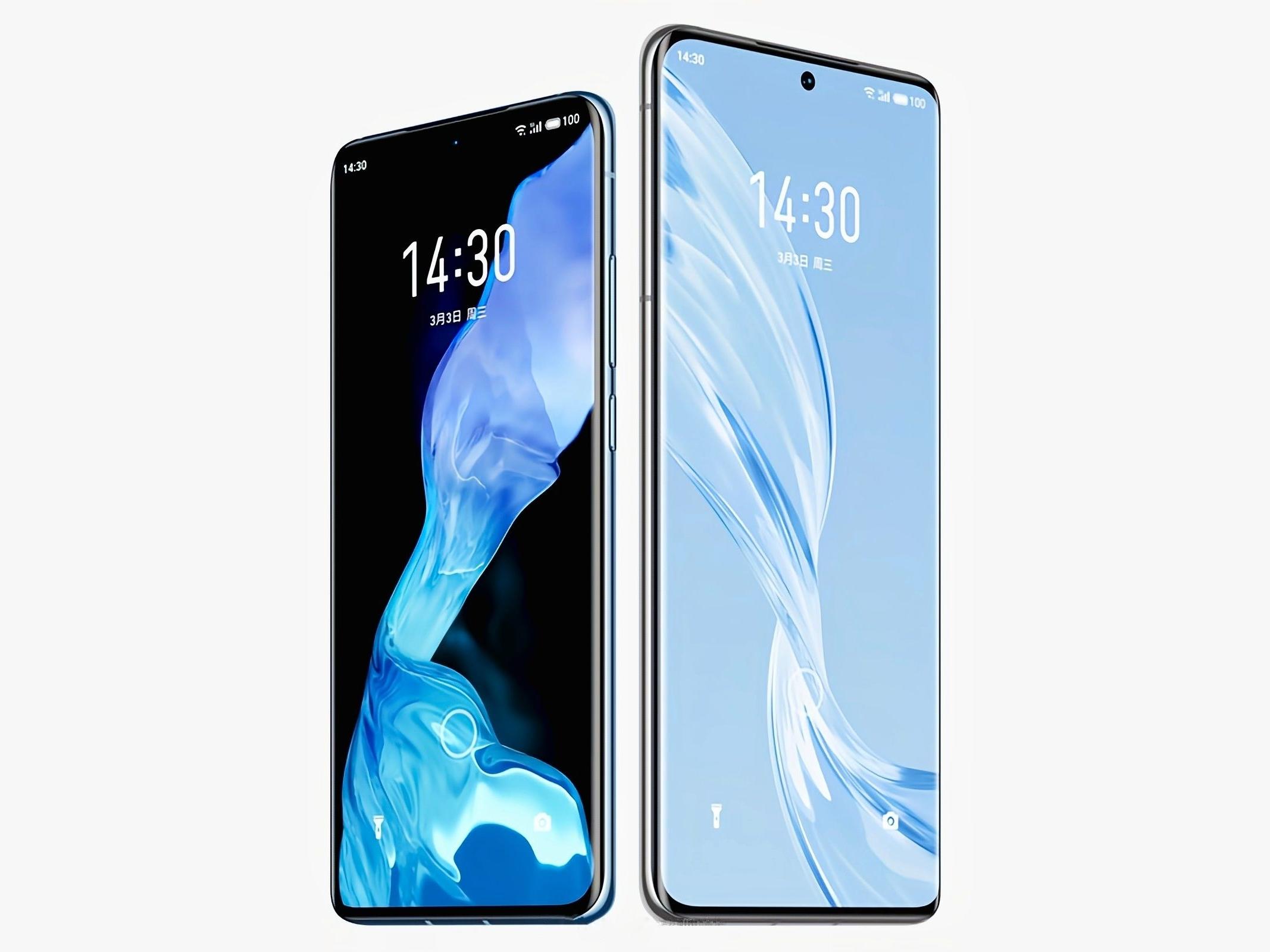 Meizu 18 и Meizu 18 Pro появились на официальных рендерах с «дырявыми» экранами и подэкранными сканерами