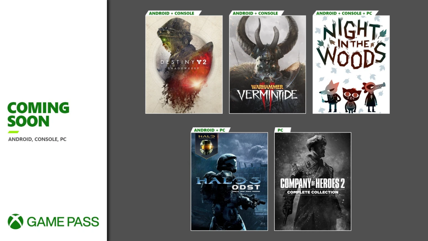 Xbox Game Pass пополнят Warhammer Vermintide 2, Halo 3 ODST и Destiny 2 Shadowkeep для Android, Xbox и ПК
