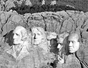 Канье Уэст прифотошопил себя к лицам президентов США на горе Рашмор