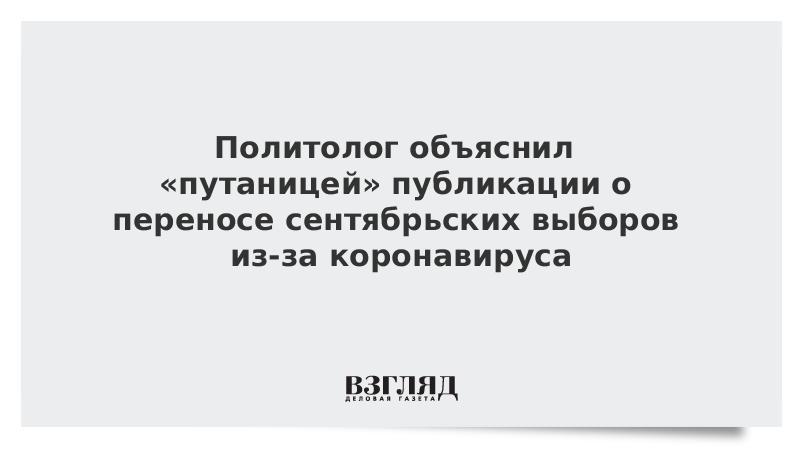 Политолог объяснил «путаницей» публикации о переносе сентябрьских выборов из-за коронавируса