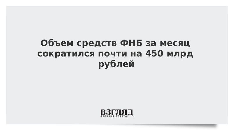 Объем средств ФНБ за месяц сократился почти на 450 млрд рублей
