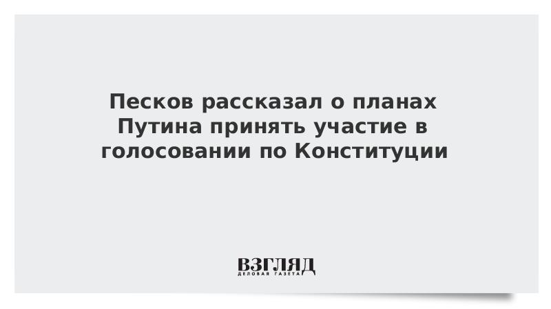 Песков рассказал о планах Путина принять участие в голосовании по Конституции