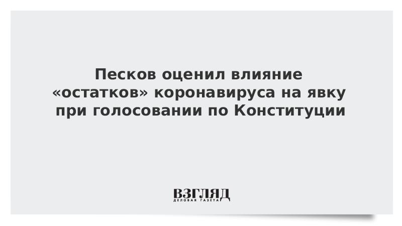 Песков оценил влияние «остатков» коронавируса на явку при голосовании по Конституции