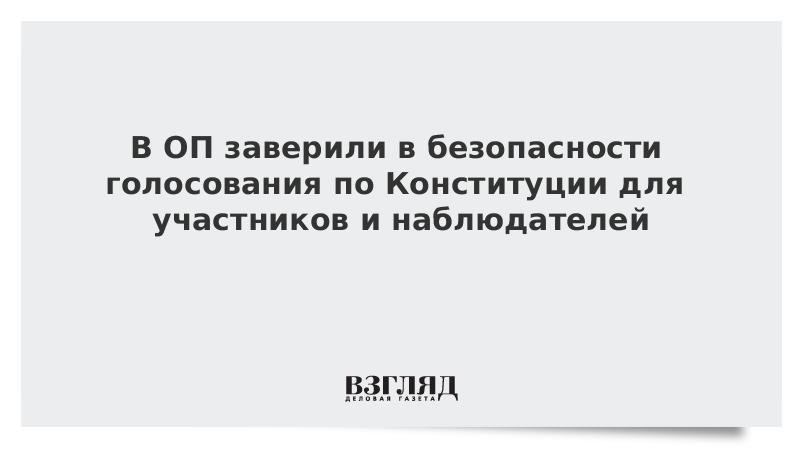 В ОП заверили в безопасности голосования по Конституции для участников и наблюдателей
