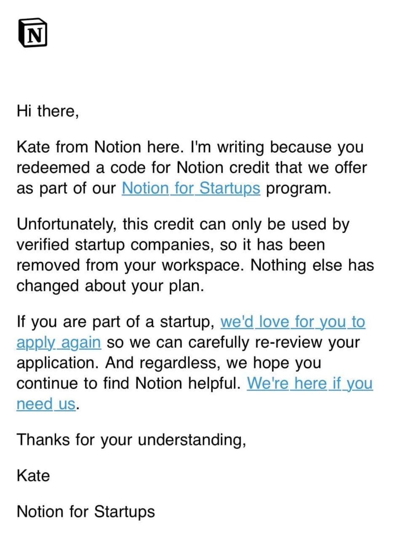 Notion раздала промокоды для стартапов на $1500, которые действовали для всех — а через три дня обнулила счета