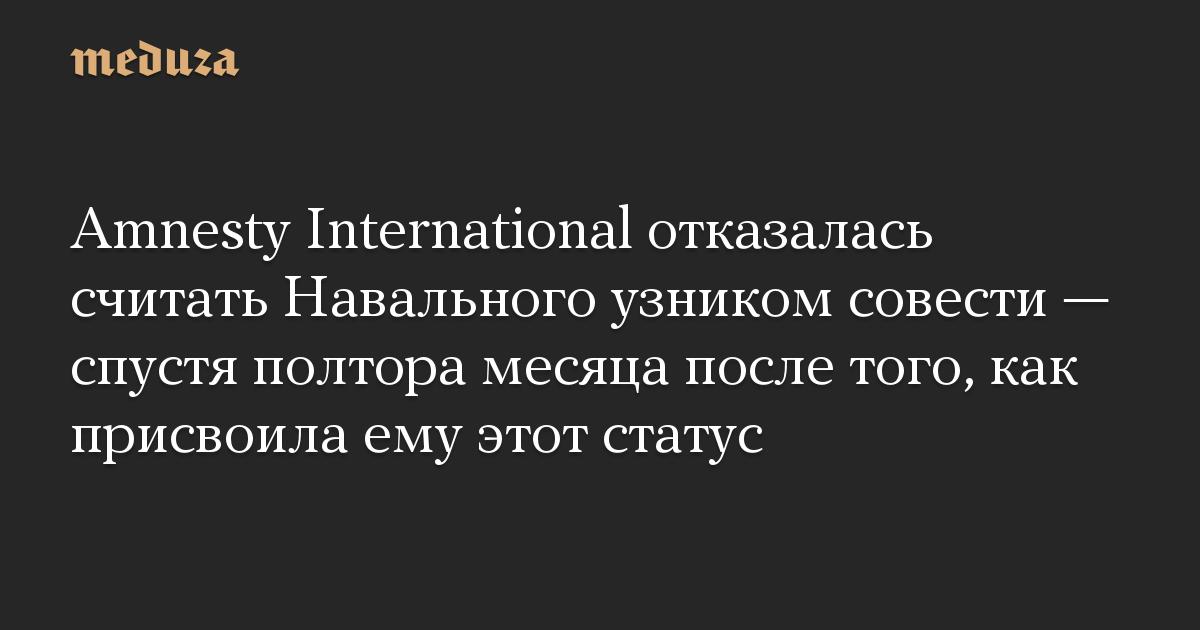 Amnesty International отказалась считать Навального узником совести — спустя полтора месяца после того, как присвоила ему этот статус