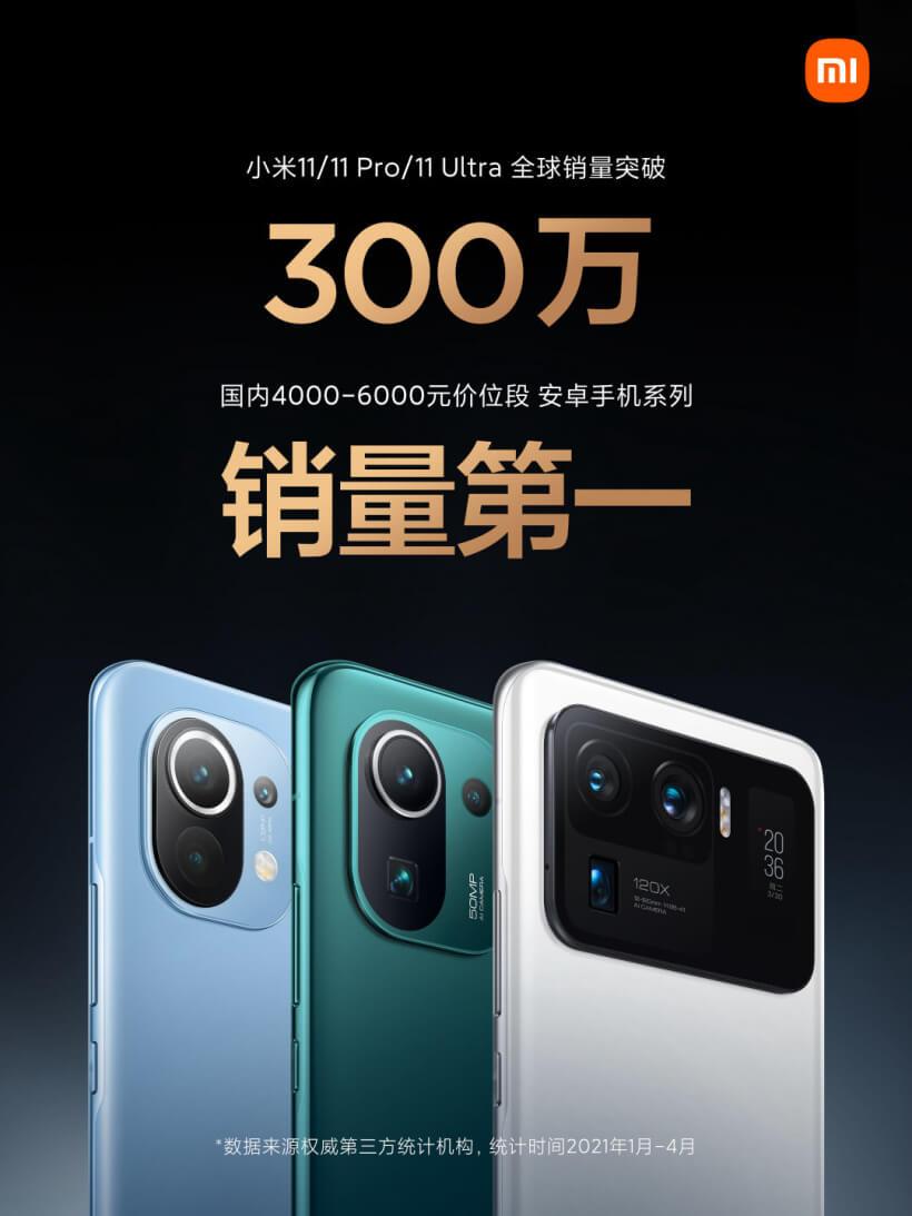 За 4 месяца Xiaomi продала 3 000 000 смартфонов серии Mi 11