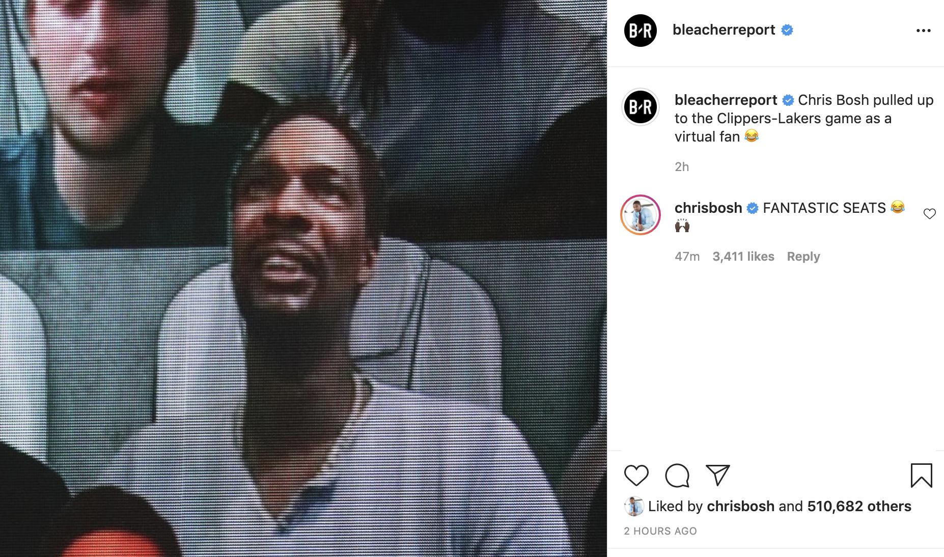 Крис Бош – о виртуальном посещении матч в Орландо: «Шикарные сиденья»